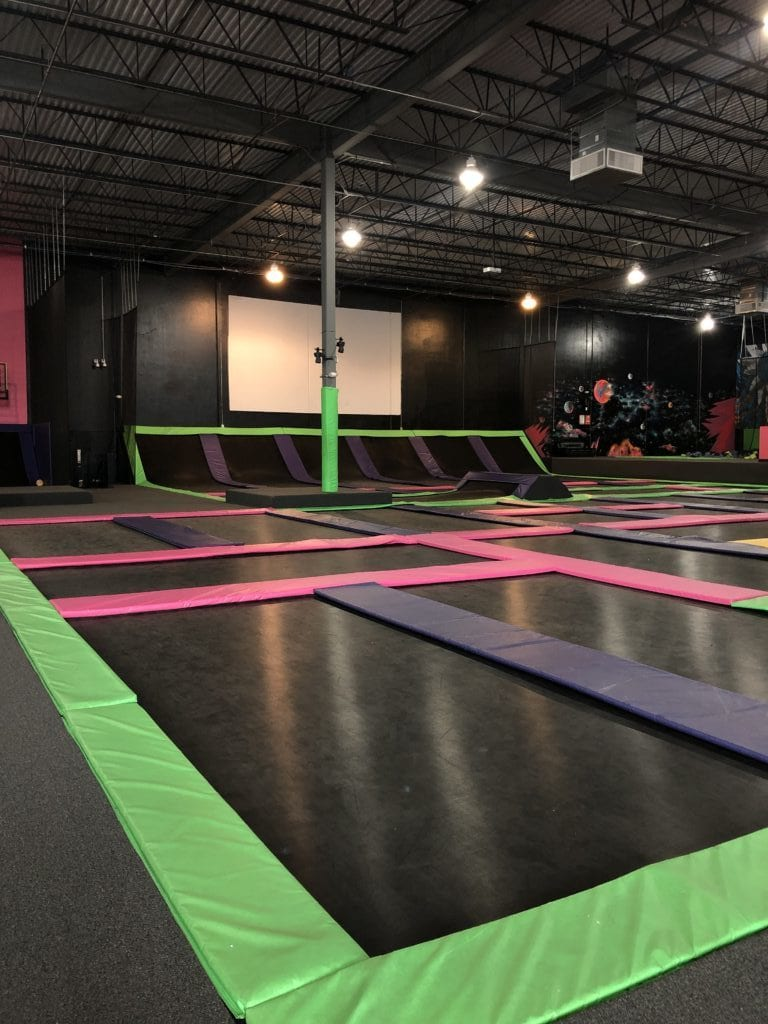view of the trampolines at the flying squirrel indoor trampoline fun park