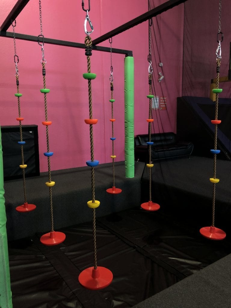 climbable monkey swings at flying squirrel indoor trampoline fun park