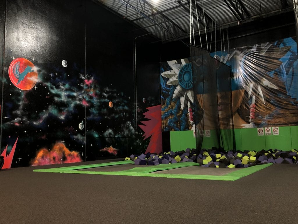 tampolines with foam pit at flying squirrel indoor trampoline fun park