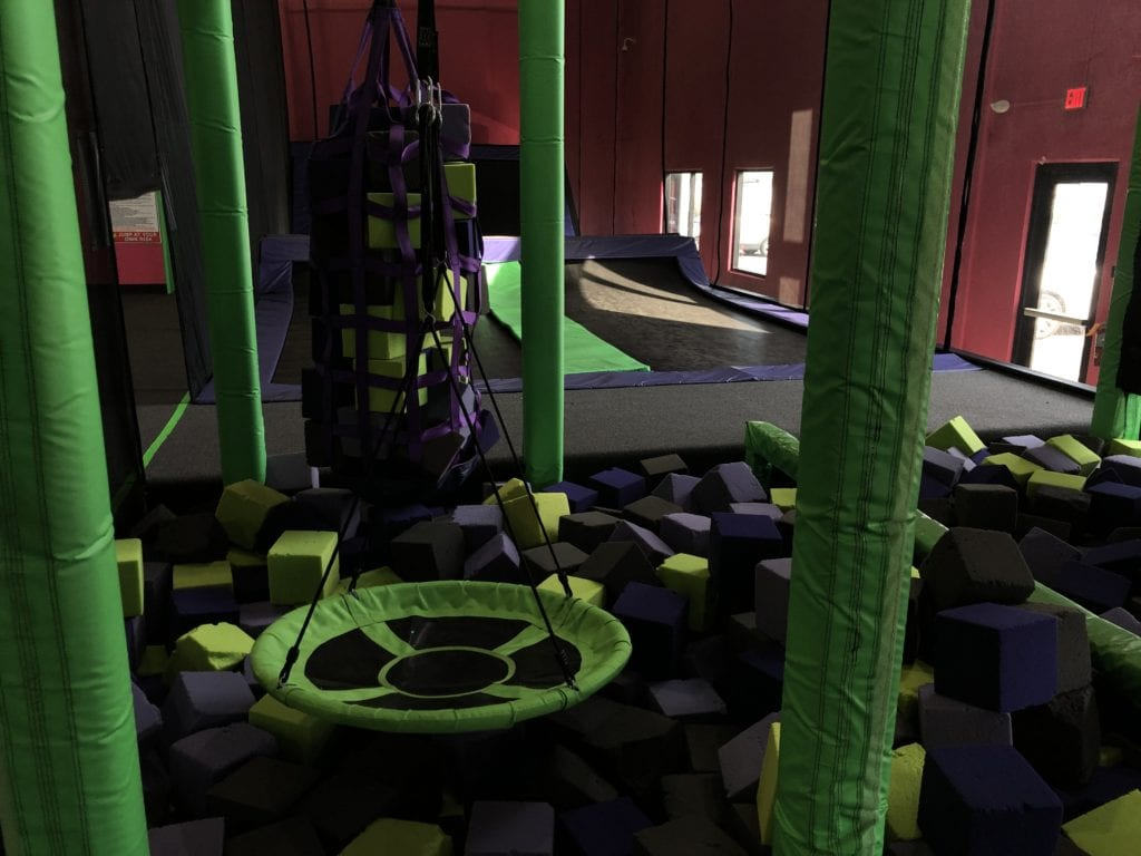 foam pit obstacles at the flying squirrel indoor trampoline fun park