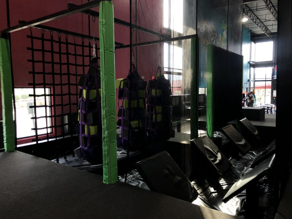 indoor nets and foam block obstacle course at flying squirrel indoor trampoline fun park
