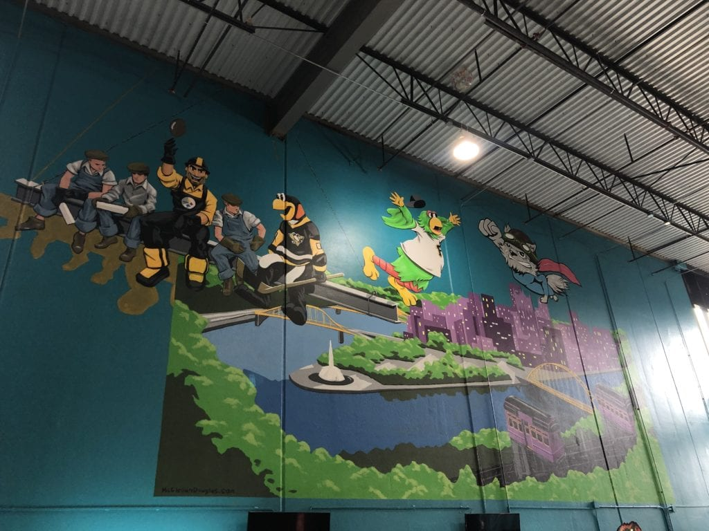 Pittsburgh pirates wall art at the flying squirrel indoor trampoline fun park